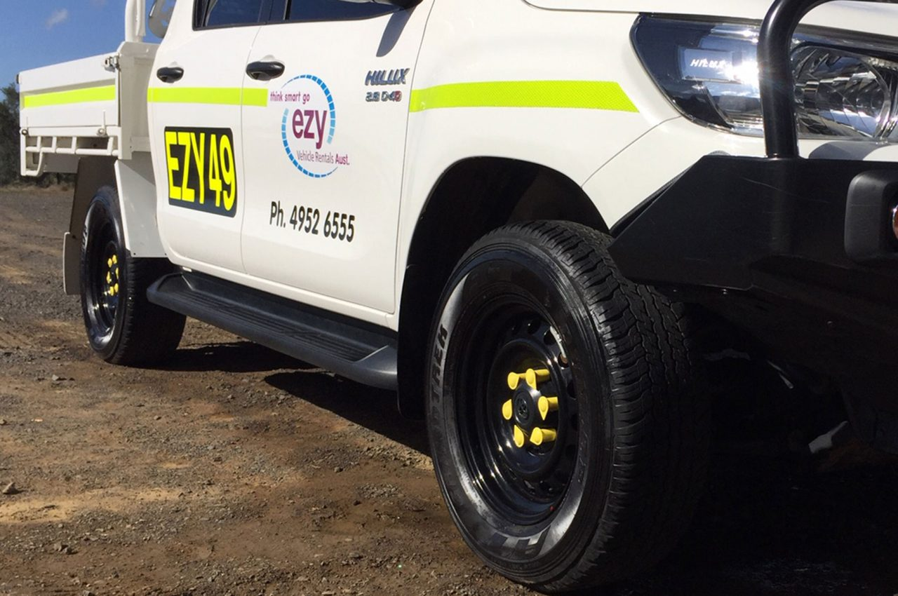 Mine Compliant features: wheel chooks, reflective striping and call signs
